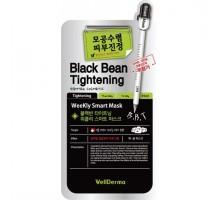 Тканевая маска с экстрактом черных бобов Black Bean Tightening Weekly Smart WellDerma