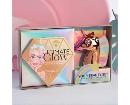 Набор: запечённый хайлайтер и кисть для макияжа Beauty FOX