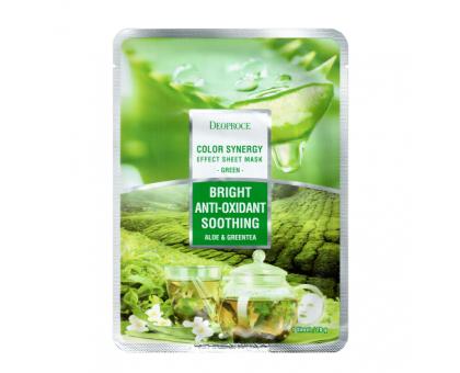 Тканевая маска с алоэ и зеленым чаем Deoproce Color Synergy Effect Sheet Mask Green, 20 gr
