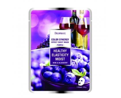 Тканевая маска с экстрактом черники и вина Deoproce Color Synergy Effect Sheet Mask Purple, 20 gr