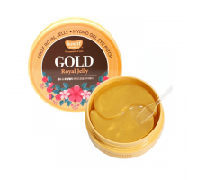 Гидро-гелевые патчи с золотом и маточным молочком Petitfee Koelf Gold & Royal Jelly Eye Patch 60 штук в упаковке (30 пар)