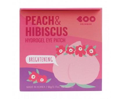 Гидрогелевые патчи с экстрактами персика и гибискуса Dearboo Peach & Hibiscus Hydrogel Eye Patch 60 штук (30 пар)