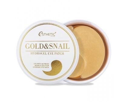 Гидрогелевые патчи  с золотом и муцином улитки Esthetic House Gold Snail Hydrogel Eye Patch 60 штук в упаковке (30 пар)