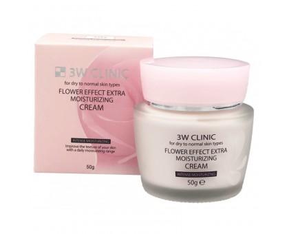 Крем для лица c целебными цветочными экстрактами 3W Clinic Flower Effect Extra Moisturizing Cream 50 мл