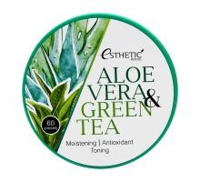 Гидрогелевые патчи для глаз ESTHETIC HOUSE  ALOE VERA & GREEN TEA HYDROGEL EYE PATCH 60 штук в упаковке (30 пар)