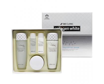 Осветление Набор для ухода за кожей лица Collagen Whitening Skin Care Items 3 Set, 3W Clinic