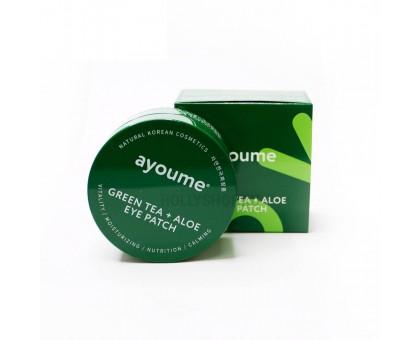 Гидрогелевые патчи с экстрактом алоэ и зеленого чая Ayoume Green Tea + Aloe Eye Patch 60 штук (30 пар)