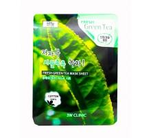 Тканевая маска для лица с экстрактом зеленого чая 3 w clinic  Fresh Green tea Mask Sheet, 27 gr