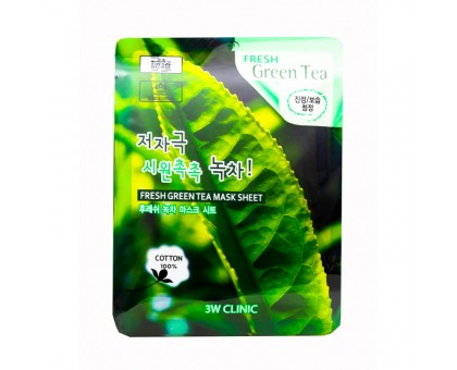Тканевая маска для лица с экстрактом зеленого чая 3 w clinic  Fresh Green tea Mask Sheet, 27 gr