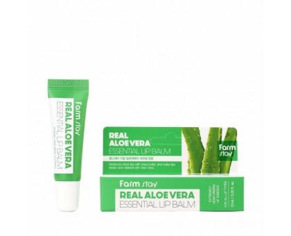 Увлажняющий бальзам для губ с алоэ  FarmStay Real Aloe Vera Essential Lip Balm 10 мл